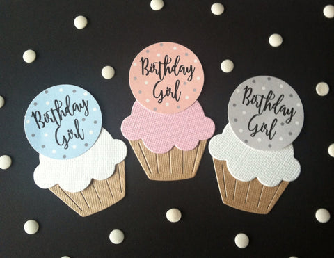 Birthday Girl  Dot Design - Twelve Cake Toppers
