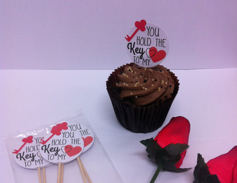 Key to my Heart - Twelve Cake Toppers