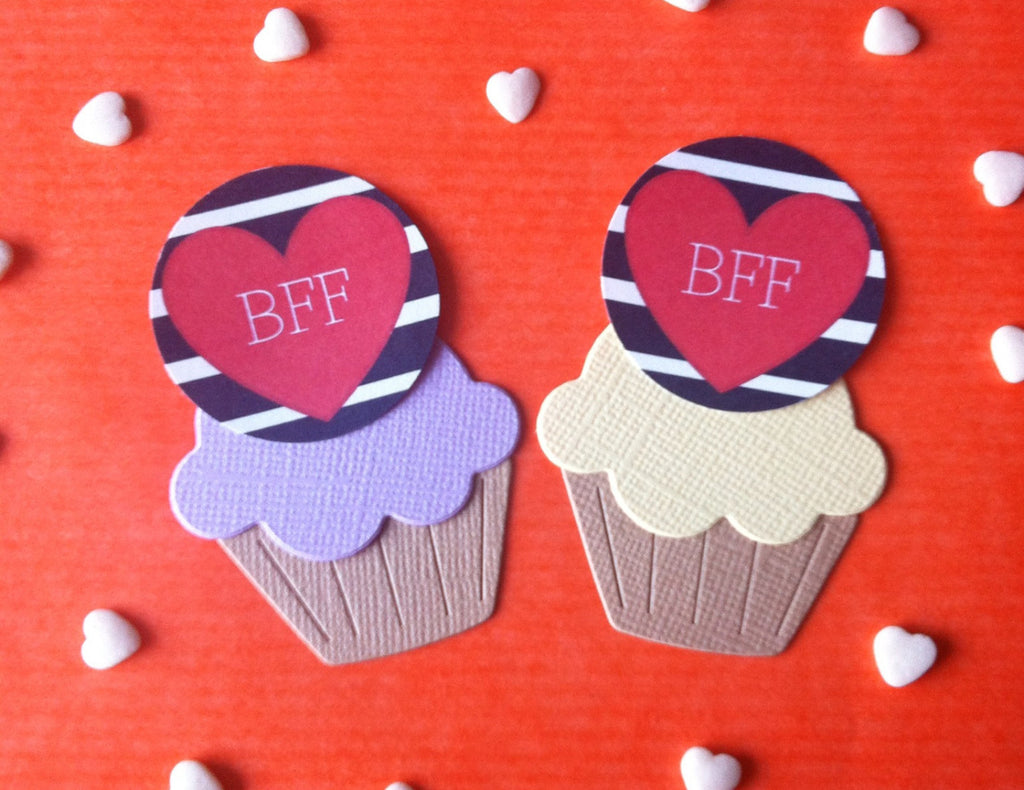 BFF Heart Cake Toppers