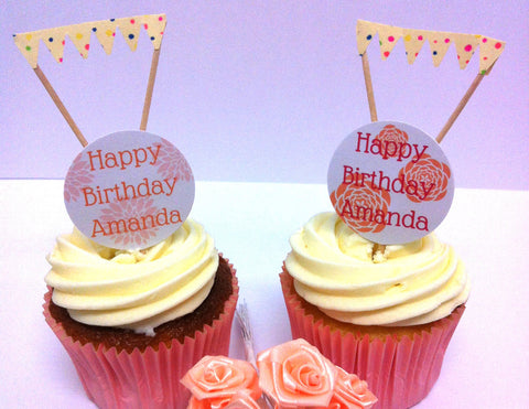 Floral Birthday  - Twelve Cake Toppers