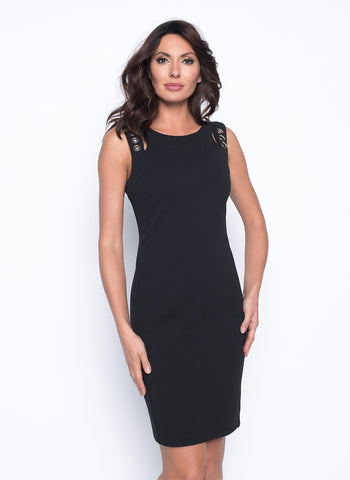 SLEEK BLACK GROMMET DETAIL    DRESS