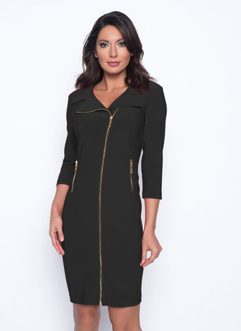 GOLD ZIPPER DETAIL DRESS