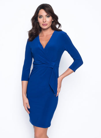 ROYAL FAUX WRAP DRESS