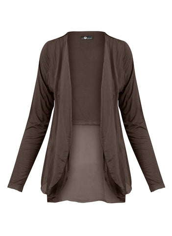 LAYERED SILK CARDI IN CHOCOLATE