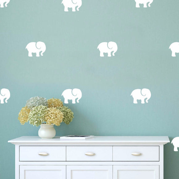Set of 50 Elephants Wall Stickers | 3 sizes available to choose from
