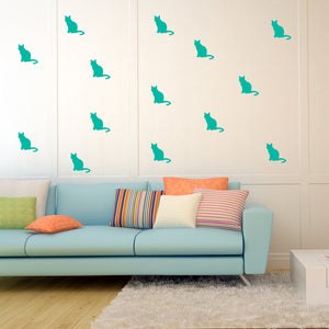 Set of 50 Cats Wall Stickers | 3 sizes available to choose from