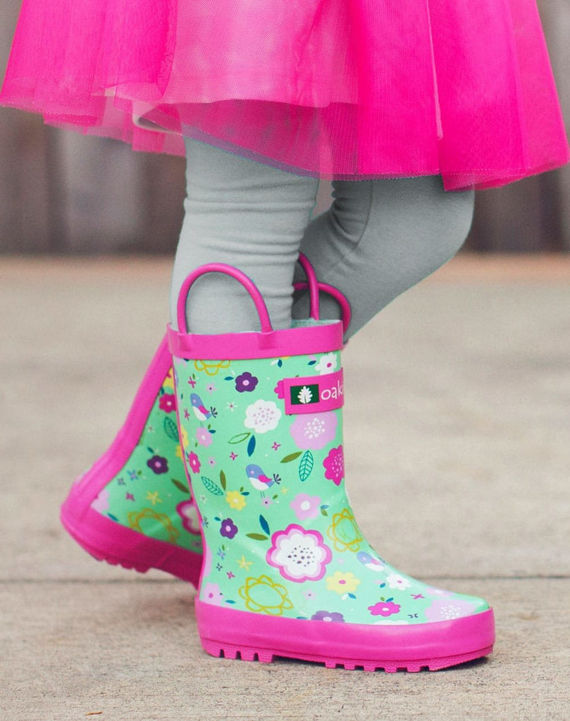 Green Floral Loop Handle Rubber Rain Boots
