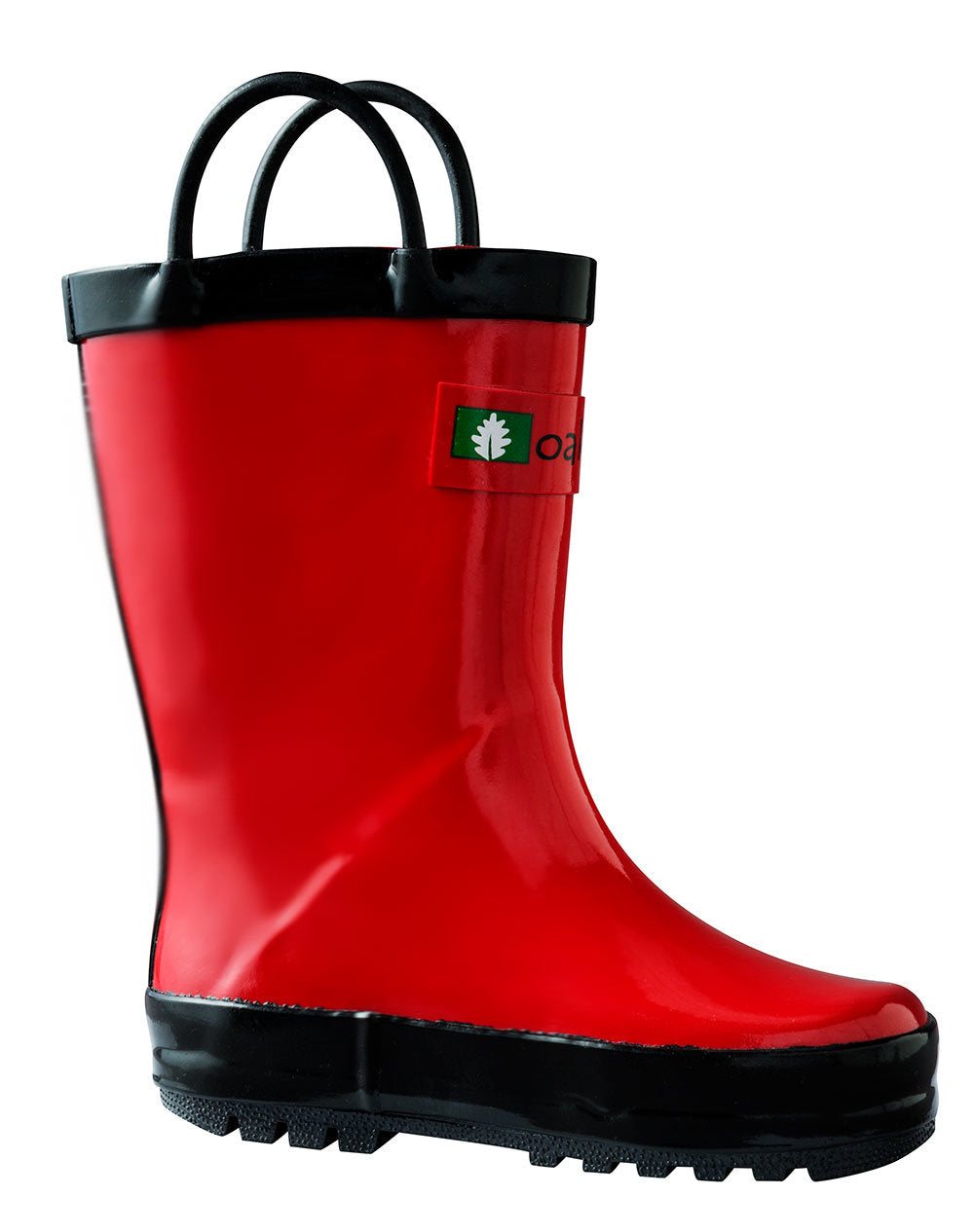 Fiery Red Loop Handle Rubber Rain Boots