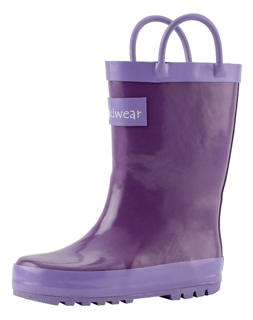Purple Orchid Loop Handle Rubber Rain Boots