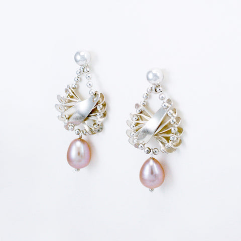 Scalloped earrings, silver & natural pink freshwater pearls