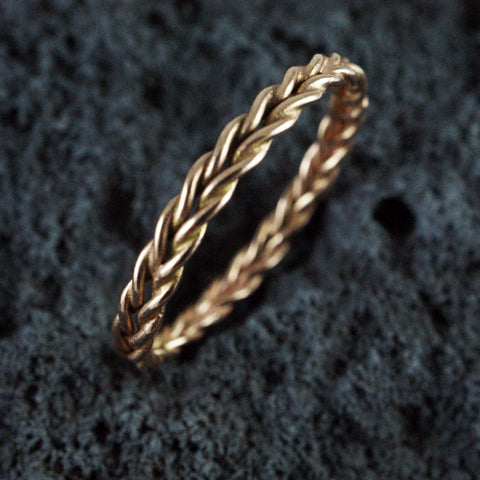 double twist rope ring, 14kt rose gold