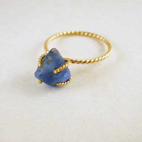 One of a kind 14kt yellow gold 'rope' and sea glass ring, prices available on request