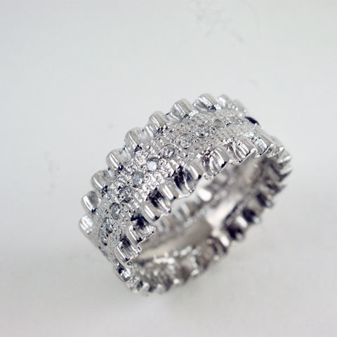 14ct white gold double ruffle + diamond ring, price available on request
