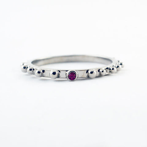14ct white gold nugget ring with ruby, price available on request