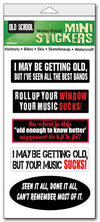 "'Old school' mini stickers - Set of 5 - Size 1"" x 3"" each"
