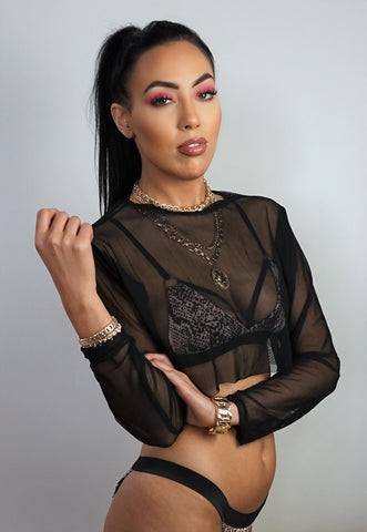 Black Mesh Crop Top With Long Sleeves