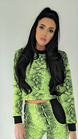 Neon Yellow Snake Skin Crop Jumper