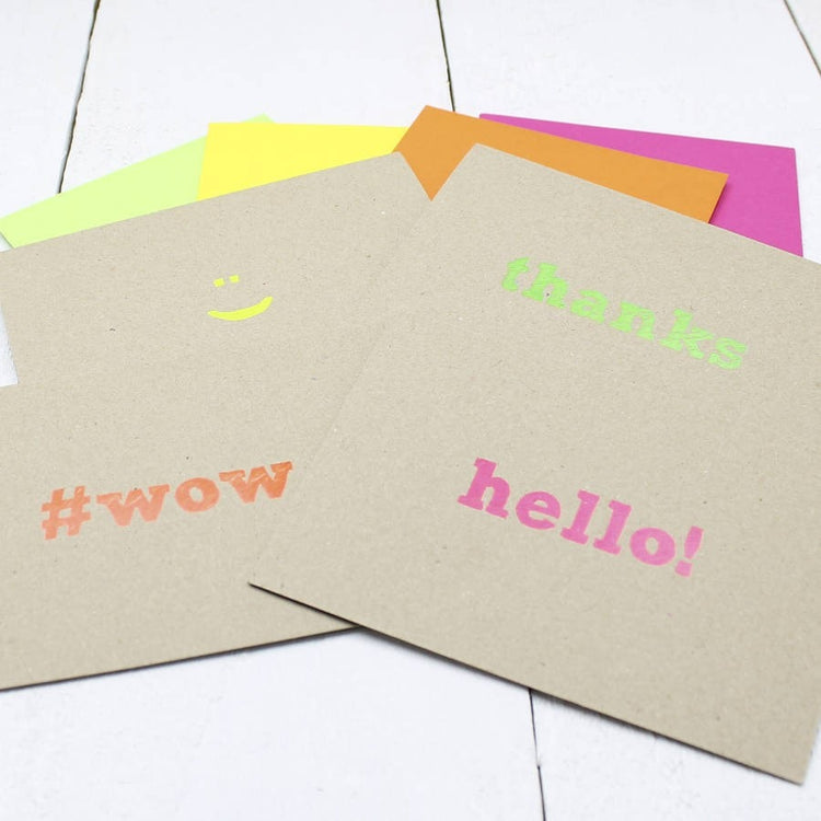 Pack Of Eight 'Neon' Notecards