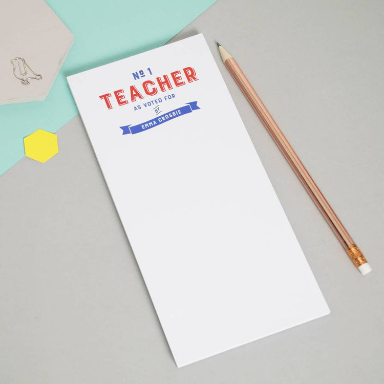 Personalised 'Number One Teacher' Notepad