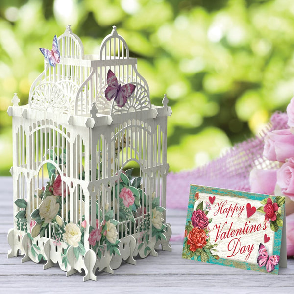 Pop Up Valentines Flower Cage Greeting Card