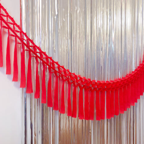 Red Fringe Tissue Garland