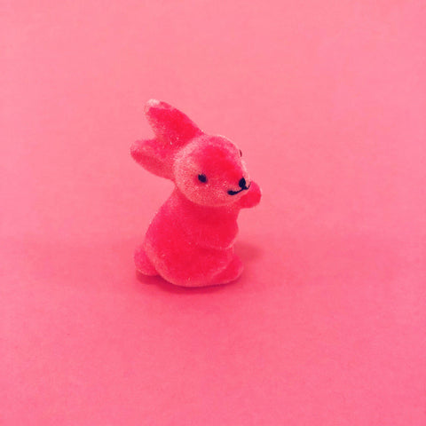 Fuzzy Waving Bunny - Tiny Hot Pink