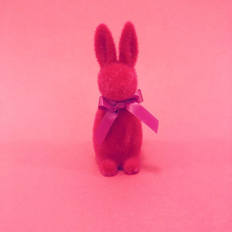 Fuzzy Bunny with Bow - Hot Pink