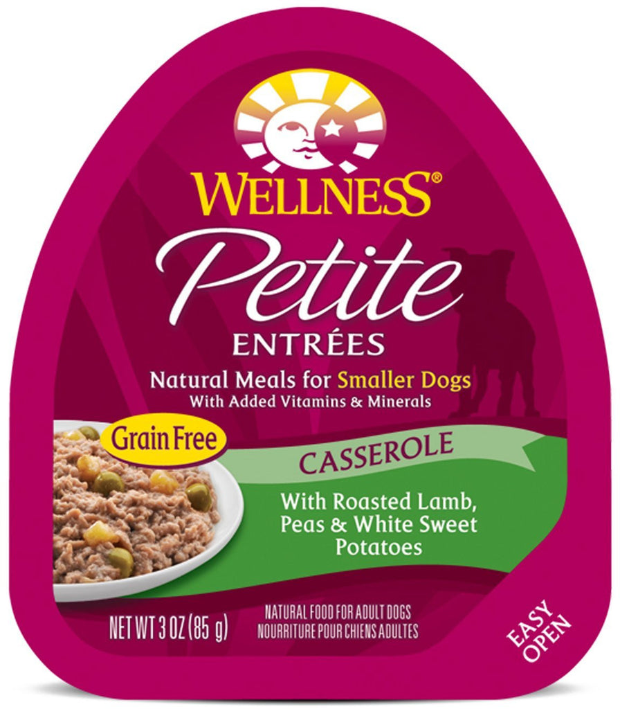 WELLNESS DOG PETITE ENTREES  CASSEROLE WITH ROASTED LAMB, PEAS & WHITE SWEET POTATOES 3OZ