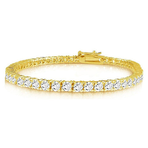 Brilliant Bracelet - A 14kt Gold Plated Brilliant Cut and Shine Diamond CZ Tennis Bracelet