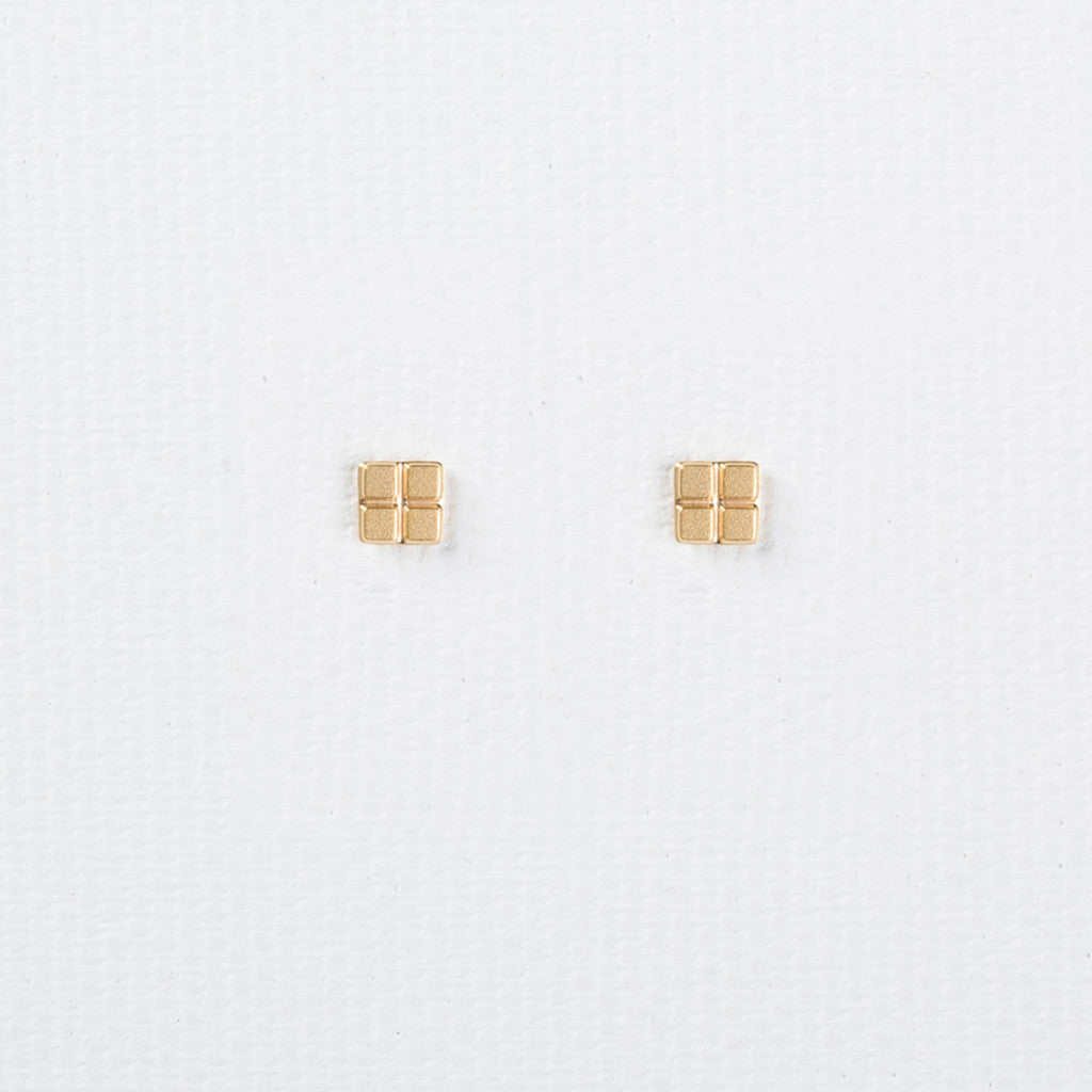 Tetris - Square Shaped Dainty Gold Earrings