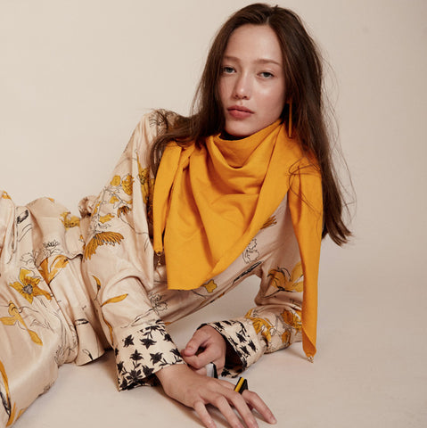 Lenny- Yellow Cotton Scarf with Gold elements