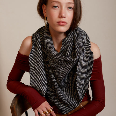 Lenny- Chunky Black and White Scarf with Gold elements