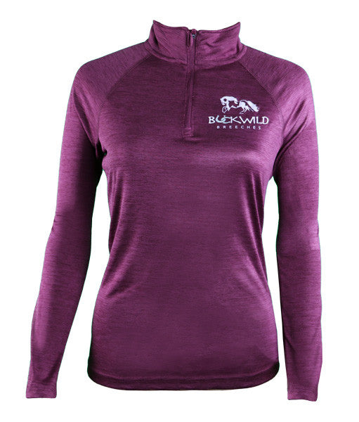 Women's Long Sleeve Performance Pull Over with Quarter Zip in Purple