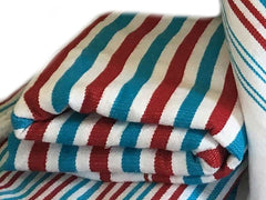 Mendil - Beach Towel - Red & Turquoise Thick Stripes - Blanket Mendil | Moroccan Corridor