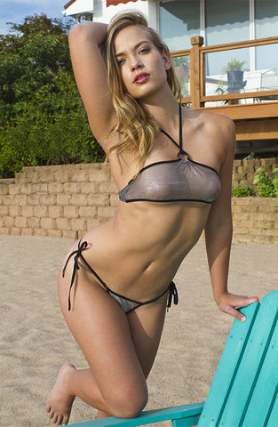 MAW photography model in sheer silver micro bikini