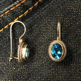 Braided Blue Topaz Oval Earrings