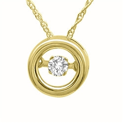 14K yellow gold dancing diamond pendant.