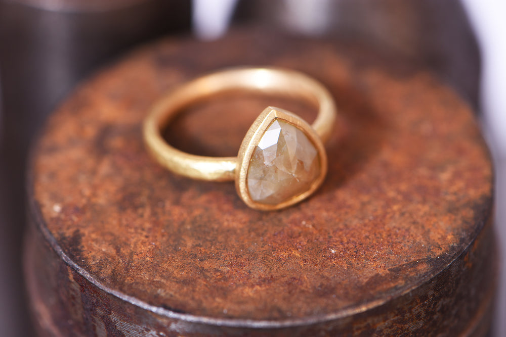 Pear Rose Cut Ring