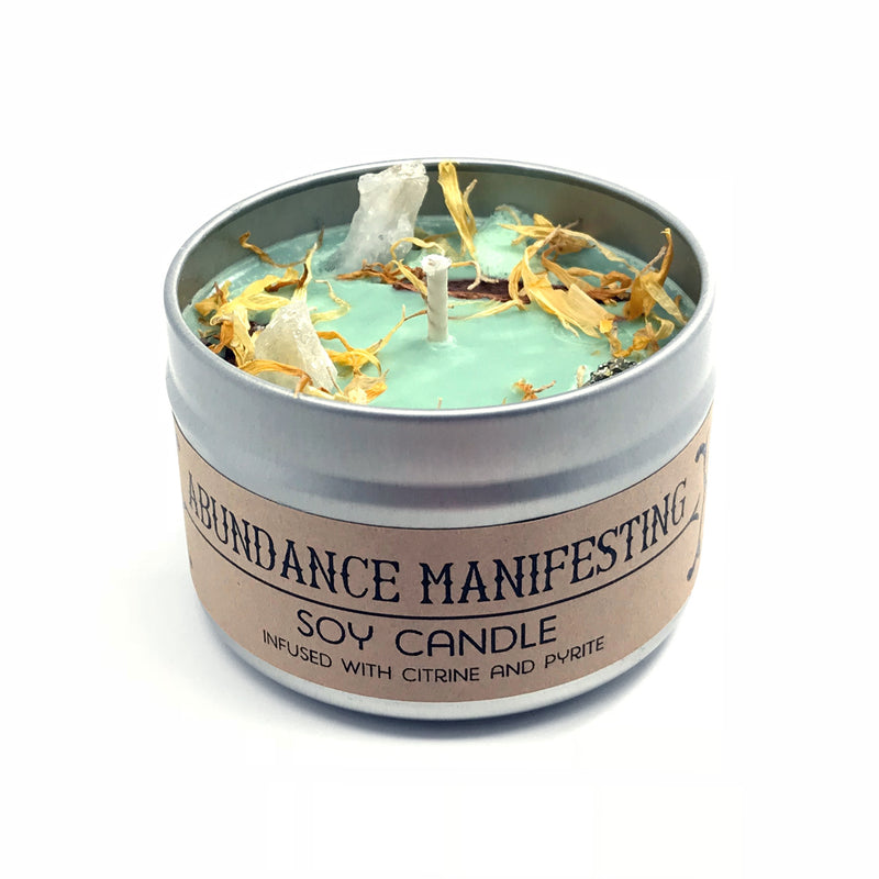 Abundance Manifesting Crystal and Herb Infused Spell Candle By House of Good Juju