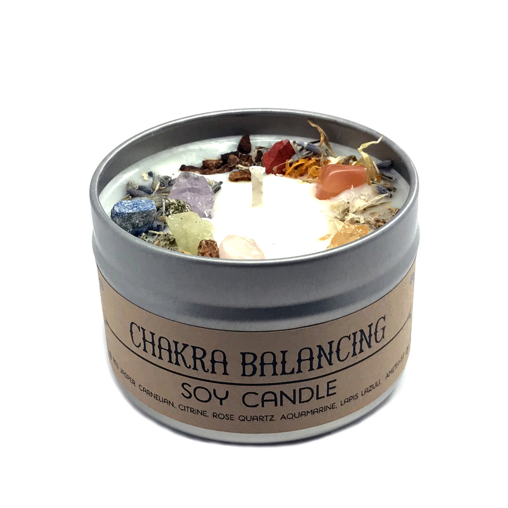 Chakra Balancing Spell Candle By House of Good Juju - Herb and Crystal Infused Soy Candle