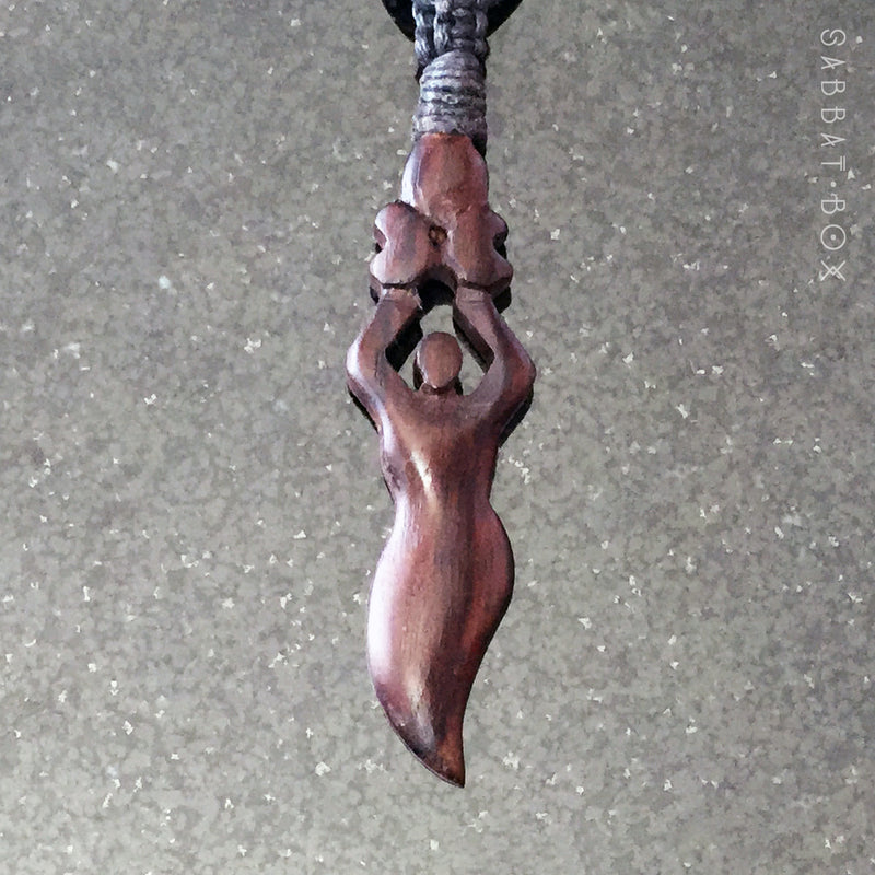 Moon Goddess Hand Carved Wooden Necklace