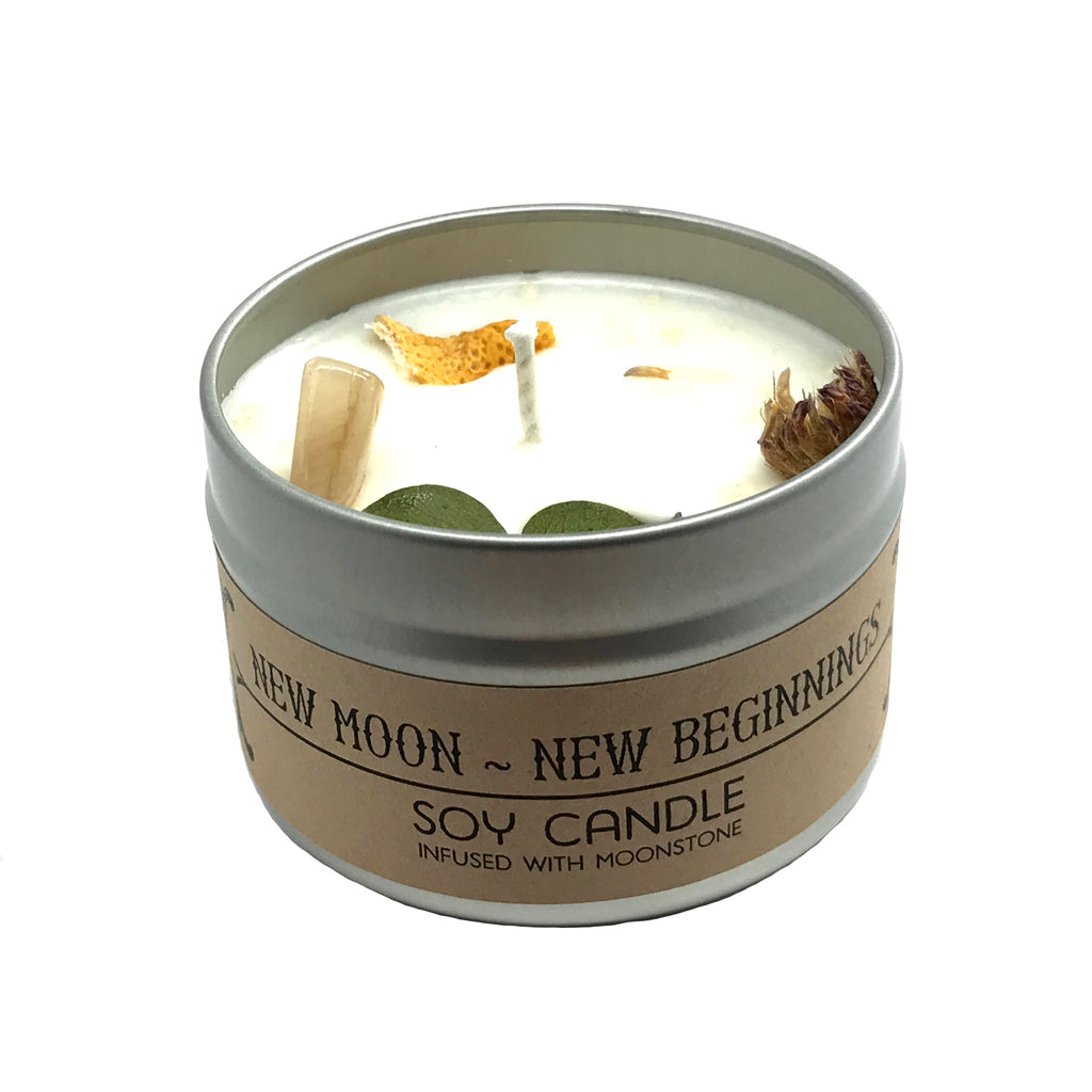 New Moon - New Beginnings Crystal and Herb Infused Spell Candle By House of Good Juju