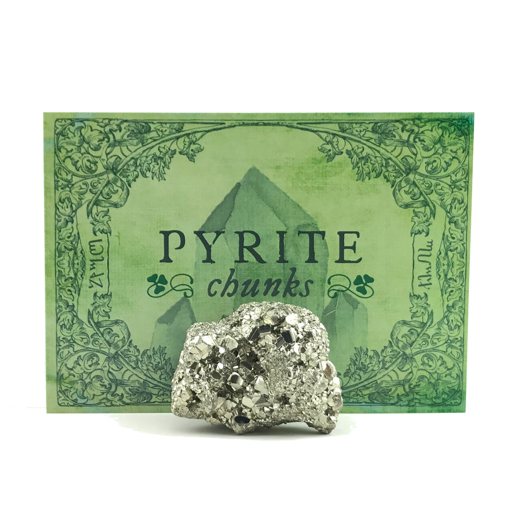 Pyrite Chunk Crystal Set w/Info Card and Bag - Sabbat Box