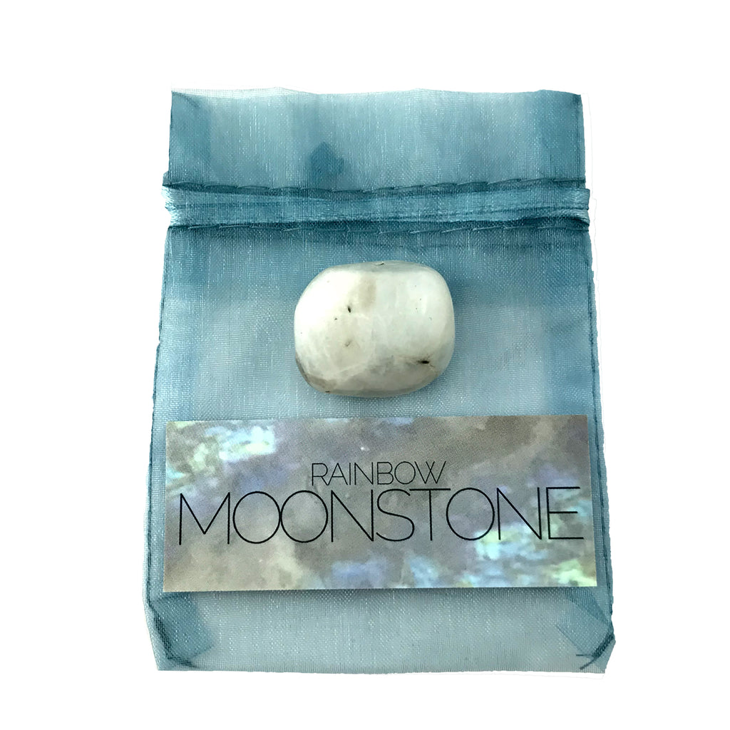 Rainbow Moonstone Crystal Set With Info Card and Bag - Sabbat Box