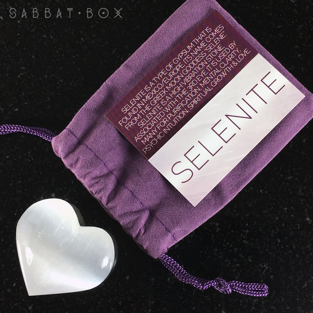 Selenite Heart Stone Set With Info Card and Purple Velour Keepsake Bag - Sabbat Box