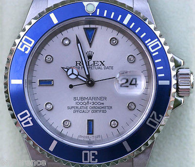 ROLEX SUBMARINER MENS WATCH DIAMONDS SAPPHIRE SLATE DIAL BLUE BEZEL NICE GIFT!