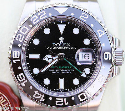 ROLEX GMT MASTER II 2 STAINLESS STEEL BLACK on BLACK  WATCH NEW 116710