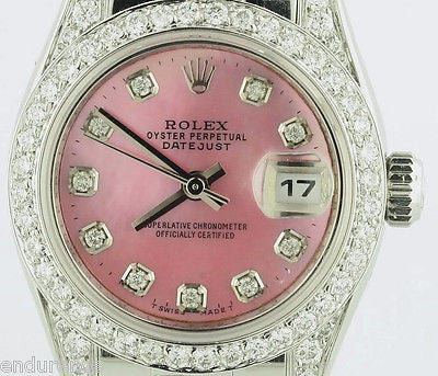 ROLEX DATEJUST PRESIDENT STYLE LADIES PINK DIAMOND DIAL BAND BEZEL LUGS DIAMONDS