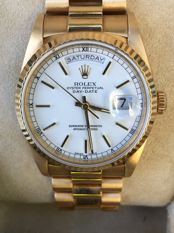 ROLEX MENS PRESIDENT DAY DATE 36mm 18238 18K GOLD DOUBLE QUICK BOX PAPERS