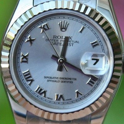 ROLEX STEEL LADIES 26mm DATEJUST WATCH WARRANTY FACTORY BOX PAPERS STICKERS